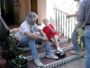Teacher with young boy, Living Wisdom School, Palo Alto, California