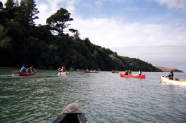 Middle schoolers from Living Wisdom School in Palo Alto, California enjoy a canoe outing on Tomales Bay.