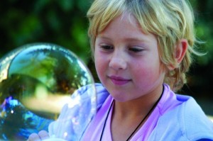 Child with Bubble, Living Wisdom School, Palo Alto, California