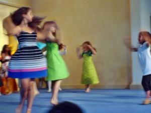 Girls dancing at Living Wisdom School in Palo Alto, California