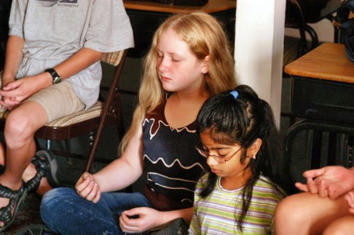 Children meditating at Living Wisdom School in Palo Alto, California