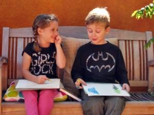 Two students at Living Wisdom School in Palo Alto, California