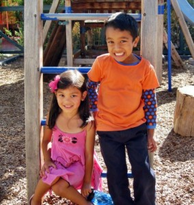 Girl and boy during recess at Living Wisdom School in Palo Alto, CA