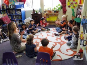 Children in a circle at Living Wisdom School in Palo Alto, California