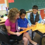 First-graders with teacher Kshama Kellogg, Living Wisdom School, Palo Alto, California