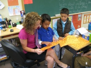 First-graders with teacher Erica Glazzard, Living Wisdom School, Palo Alto, California