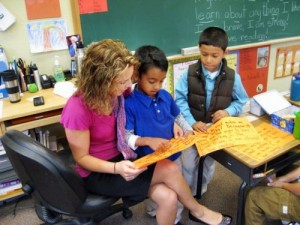Teacher with young students, Living Wisdom School in Palo Alto, California