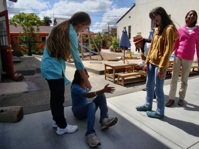 Middle schooler Mariah lends a help hand, Living Wisdom School, Palo Alto, California