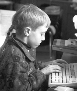 Boy at keyboard