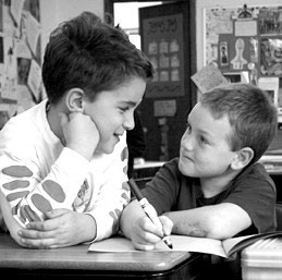 Two boys at desk at Living Wisdom School in Palo Alto, California