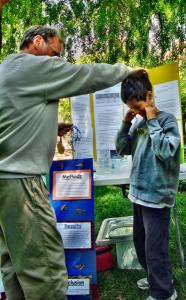 Boy receives medal for his science fair exhibit, Living Wisdom School, Palo Alto, California