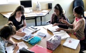 Middle school girls working at Living Wisdom School in Palo Alto, California