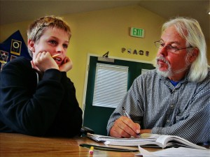 Gary tests a student's grasp of concepts at Living Wisdom School in Palo Alto, CA.