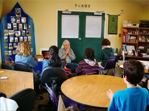 Students at Living Wisdom School in Palo Alto, California meditate before math class.