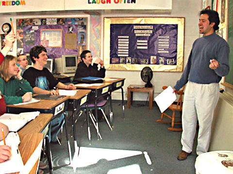 Dharmaraj teaches a lively middle school math class.